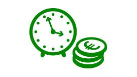 Uhr und Geldmünzen