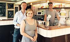 Tom Naber (IST), Studentin Anna Andreeva und Leon Windscheid, Eventveranstalter und Ausbilder